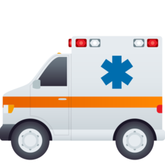 How Ambulance emoji looks on Joypixels.