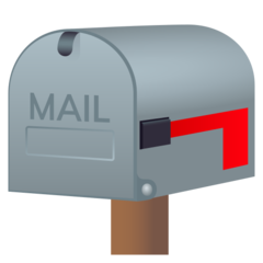 How Closed Mailbox with Lowered Flag emoji looks on Joypixels.