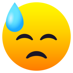 How Downcast Face with Sweat emoji looks on Joypixels.