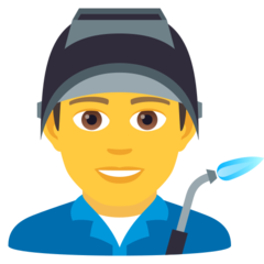 How Man Factory Worker emoji looks on Joypixels.