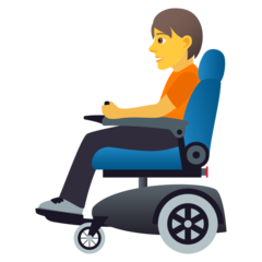 How Person in Motorized Wheelchair emoji looks on Joypixels.
