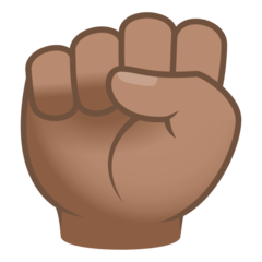 How Raised Fist: Medium Skin Tone emoji looks on Joypixels.
