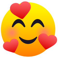 How Smiling Face with Hearts emoji looks on Joypixels.