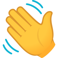 How Waving Hand emoji looks on Joypixels.