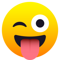 How Winking Face with Tongue emoji looks on Joypixels.