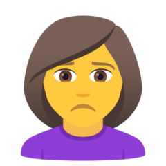 How Woman Frowning emoji looks on Joypixels.