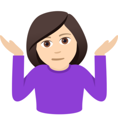 How Woman Shrugging: Light Skin Tone emoji looks on Joypixels.