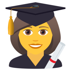 How Woman Student emoji looks on Joypixels.