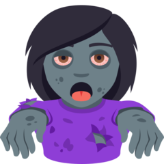How Woman Zombie emoji looks on Joypixels.