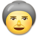 How Old Woman emoji looks on Lg.