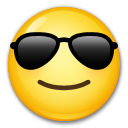 How Smiling Face with Sunglasses emoji looks on Lg.