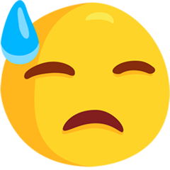 How Downcast Face with Sweat emoji looks on Messenger.