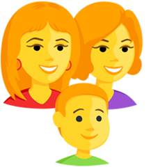 How Family: Woman, Woman, Boy emoji looks on Messenger.
