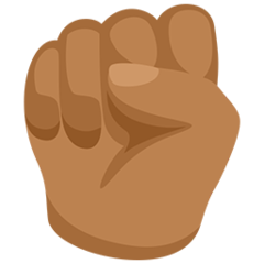 How Raised Fist: Medium Skin Tone emoji looks on Messenger.