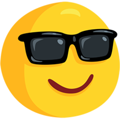 How Smiling Face with Sunglasses emoji looks on Messenger.