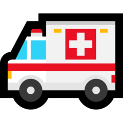 How Ambulance emoji looks on Microsoft.
