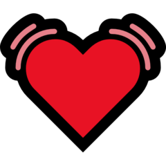 How Beating Heart emoji looks on Microsoft.