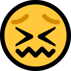 How Confounded Face emoji looks on Microsoft.