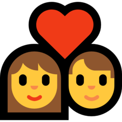 How Couple with Heart emoji looks on Microsoft.