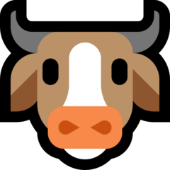 How Cow Face emoji looks on Microsoft.