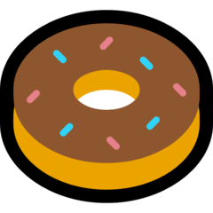 How Doughnut emoji looks on Microsoft.