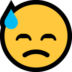 How Downcast Face with Sweat emoji looks on Microsoft.