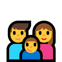How Family: Man, Woman, Boy emoji looks on Microsoft.