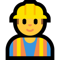 How Man Construction Worker emoji looks on Microsoft.