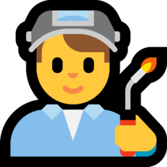How Man Factory Worker emoji looks on Microsoft.