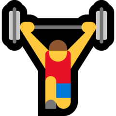 How Man Lifting Weights emoji looks on Microsoft.