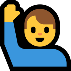 How Man Raising Hand emoji looks on Microsoft.