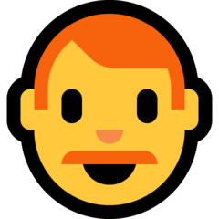 How Man: Red Hair emoji looks on Microsoft.