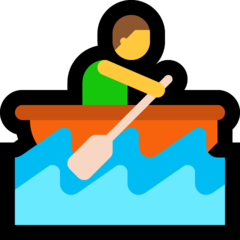 How Person Rowing Boat emoji looks on Microsoft.