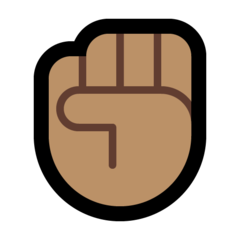 How Raised Fist: Medium Skin Tone emoji looks on Microsoft.