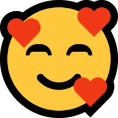How Smiling Face with Hearts emoji looks on Microsoft.