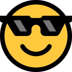 How Smiling Face with Sunglasses emoji looks on Microsoft.