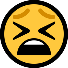 How Tired Face emoji looks on Microsoft.