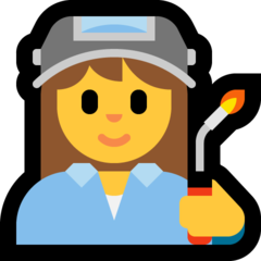 How Woman Factory Worker emoji looks on Microsoft.