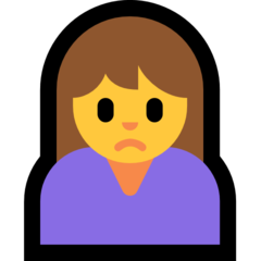 How Woman Frowning emoji looks on Microsoft.