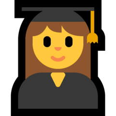 How Woman Student emoji looks on Microsoft.