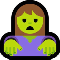 How Woman Zombie emoji looks on Microsoft.
