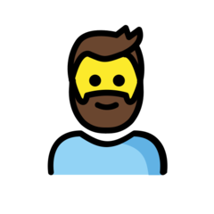 How Man: Beard emoji looks on Openmoji.