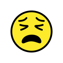 How Tired Face emoji looks on Openmoji.