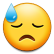 How Downcast Face with Sweat emoji looks on Samsung.