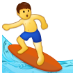 How Man Surfing emoji looks on Samsung.