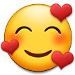 How Smiling Face with Hearts emoji looks on Samsung.