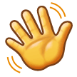 How Waving Hand emoji looks on Samsung.