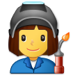 How Woman Factory Worker emoji looks on Samsung.