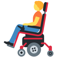How Person in Motorized Wheelchair emoji looks on Twitter.