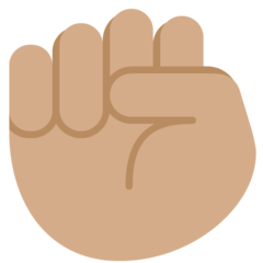 How Raised Fist: Medium Skin Tone emoji looks on Twitter.